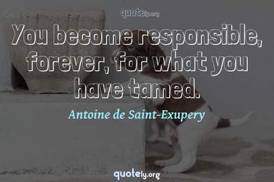 Photo Quote of You become responsible, forever, for what you have tamed.