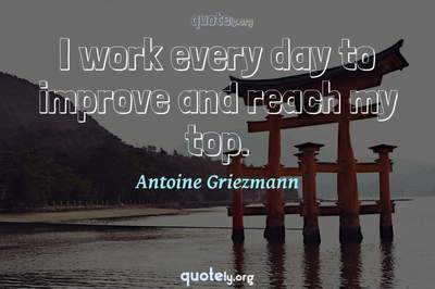 Photo Quote of I work every day to improve and reach my top.