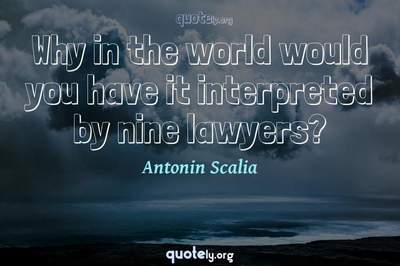 Photo Quote of Why in the world would you have it interpreted by nine lawyers?