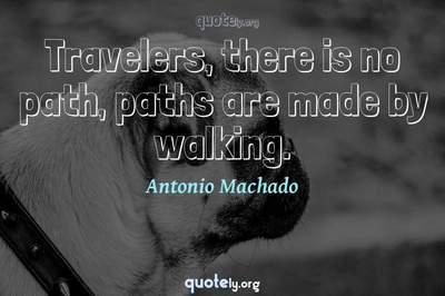 Photo Quote of Travelers, there is no path, paths are made by walking.