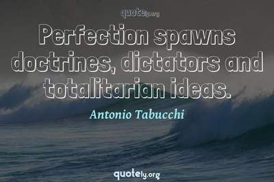 Photo Quote of Perfection spawns doctrines, dictators and totalitarian ideas.