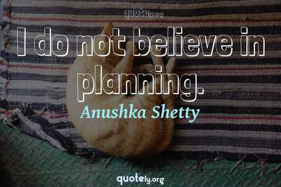 Photo Quote of I do not believe in planning.