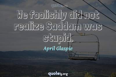 Photo Quote of We foolishly did not realize Saddam was stupid.