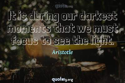 Photo Quote of It is during our darkest moments that we must focus to see the light.