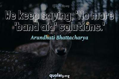 Photo Quote of We keep saying, 'No more 'band aid' solutions.'
