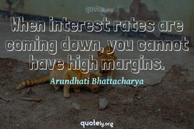 Photo Quote of When interest rates are coming down, you cannot have high margins.