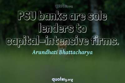 Photo Quote of PSU banks are sole lenders to capital-intensive firms.