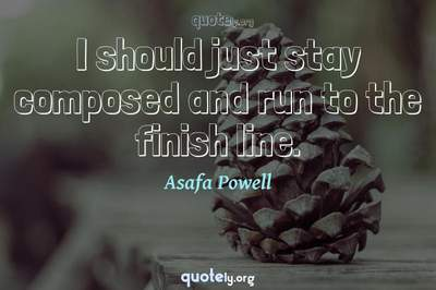 Photo Quote of I should just stay composed and run to the finish line.