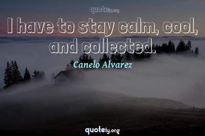 Photo Quote of I have to stay calm, cool, and collected.