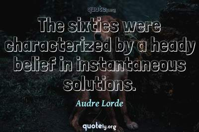 Photo Quote of The sixties were characterized by a heady belief in instantaneous solutions.