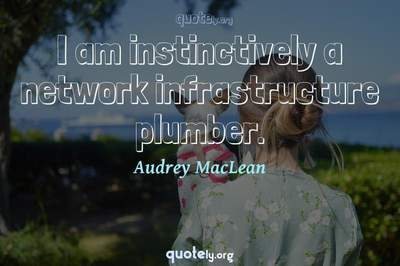 Photo Quote of I am instinctively a network infrastructure plumber.