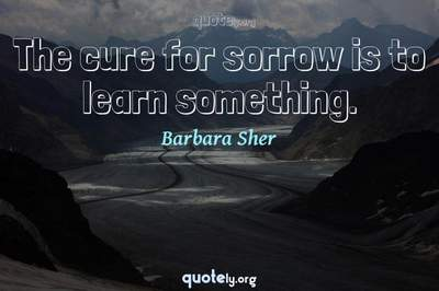 Photo Quote of The cure for sorrow is to learn something.