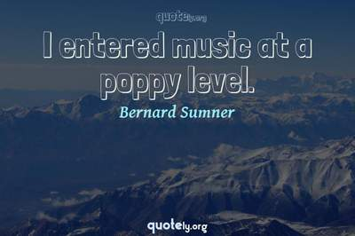 Photo Quote of I entered music at a poppy level.