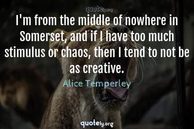 Photo Quote of I'm from the middle of nowhere in Somerset, and if I have too much stimulus or chaos, then I tend to not be as creative.