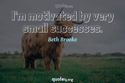 Photo Quote of I'm motivated by very small successes.