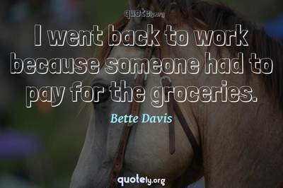 Photo Quote of I went back to work because someone had to pay for the groceries.