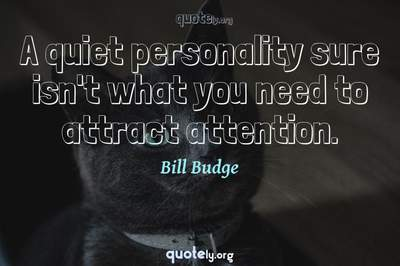 Photo Quote of A quiet personality sure isn't what you need to attract attention.