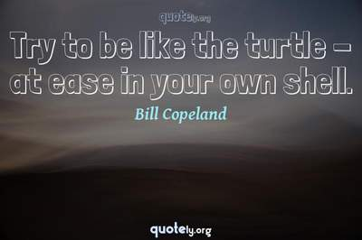 Photo Quote of Try to be like the turtle - at ease in your own shell.