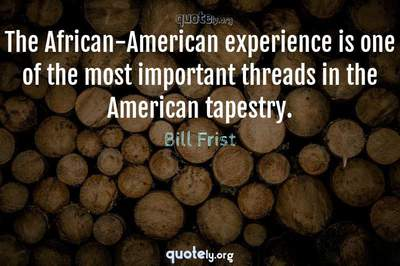 Photo Quote of The African-American experience is one of the most important threads in the American tapestry.