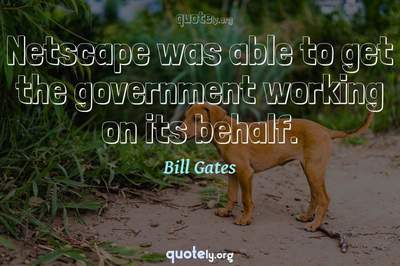 Photo Quote of Netscape was able to get the government working on its behalf.