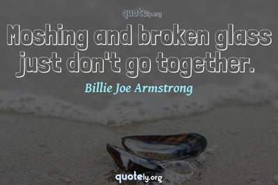 Photo Quote of Moshing and broken glass just don't go together.