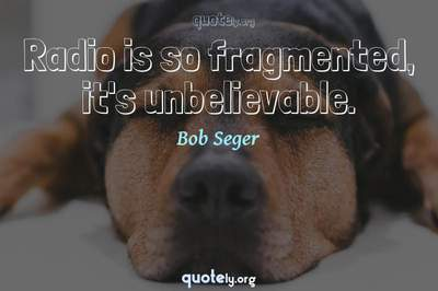 Photo Quote of Radio is so fragmented, it's unbelievable.
