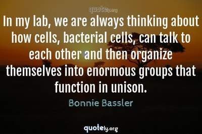 Photo Quote of In my lab, we are always thinking about how cells, bacterial cells, can talk to each other and then organize themselves into enormous groups that function in unison.