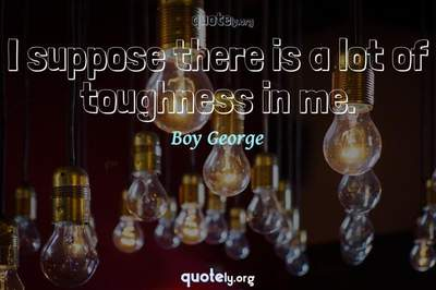 Photo Quote of I suppose there is a lot of toughness in me.