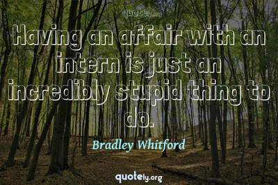 Photo Quote of Having an affair with an intern is just an incredibly stupid thing to do.