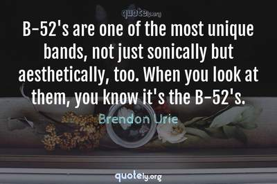 Photo Quote of B-52's are one of the most unique bands, not just sonically but aesthetically, too. When you look at them, you know it's the B-52's.