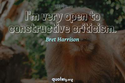 Photo Quote of I'm very open to constructive criticism.