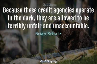 Photo Quote of Because these credit agencies operate in the dark, they are allowed to be terribly unfair and unaccountable.