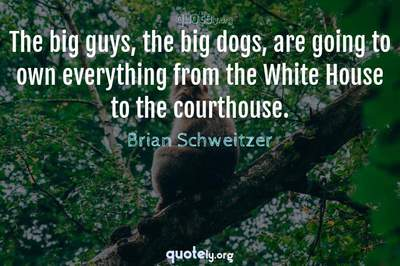 Photo Quote of The big guys, the big dogs, are going to own everything from the White House to the courthouse.