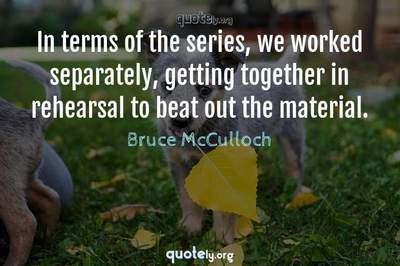 Photo Quote of In terms of the series, we worked separately, getting together in rehearsal to beat out the material.