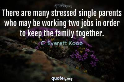 Photo Quote of There are many stressed single parents who may be working two jobs in order to keep the family together.