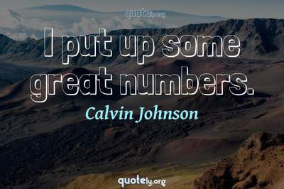 Photo Quote of I put up some great numbers.