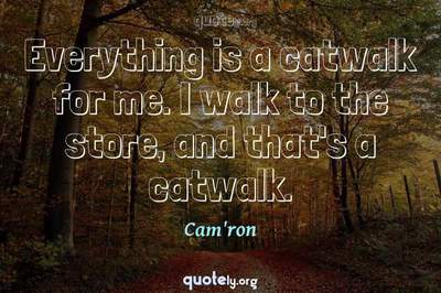 Photo Quote of Everything is a catwalk for me. I walk to the store, and that's a catwalk.