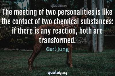 Photo Quote of The meeting of two personalities is like the contact of two chemical substances: if there is any reaction, both are transformed.