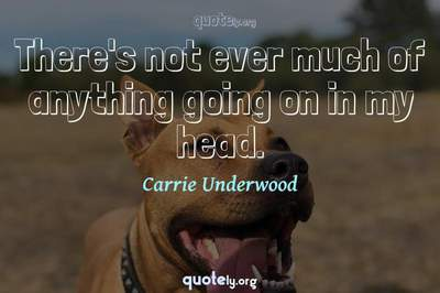 Photo Quote of There's not ever much of anything going on in my head.