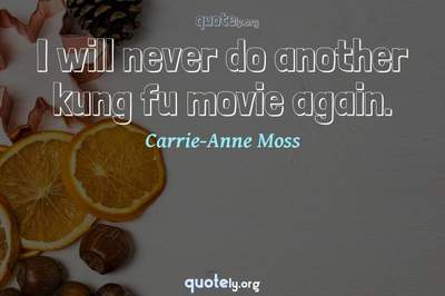 Photo Quote of I will never do another kung fu movie again.