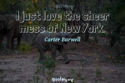Photo Quote of I just love the sheer mess of New York.