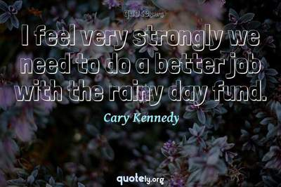 Photo Quote of I feel very strongly we need to do a better job with the rainy day fund.
