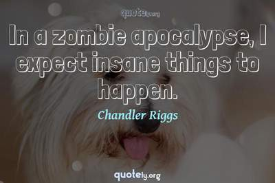 Photo Quote of In a zombie apocalypse, I expect insane things to happen.