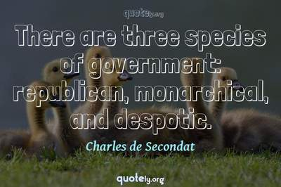 Photo Quote of There are three species of government: republican, monarchical, and despotic.