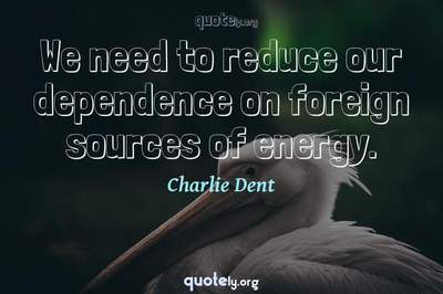 Photo Quote of We need to reduce our dependence on foreign sources of energy.