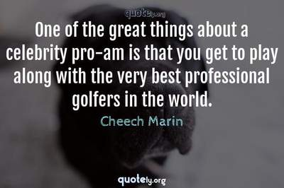 Photo Quote of One of the great things about a celebrity pro-am is that you get to play along with the very best professional golfers in the world.