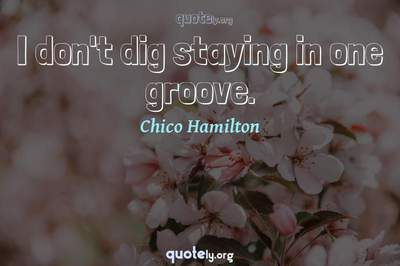 Photo Quote of I don't dig staying in one groove.