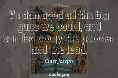 Photo Quote of We damaged all the big guns we could, and carried away the powder and the lead.