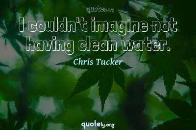 Photo Quote of I couldn't imagine not having clean water.