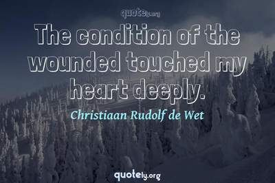 Photo Quote of The condition of the wounded touched my heart deeply.